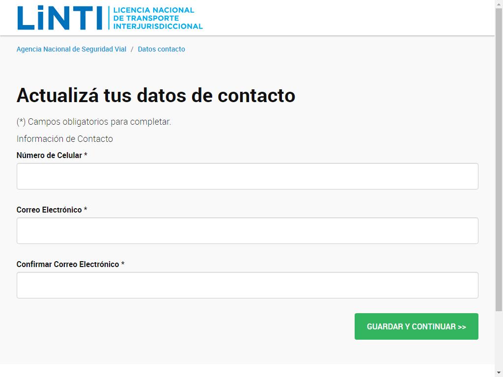 actualiza los datos de contacto